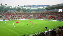 Switzerland-Albania play in 2003 at the Stade de Genève