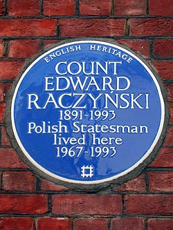 Count edward raczy%c5%83ski 1891 1993 polish statesman lived here 1967 1993
