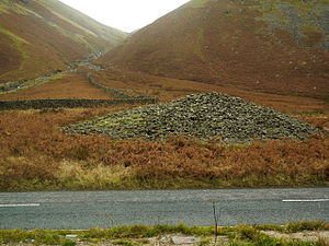 Dunmail Raise - The cairn of Dunmail Raise, beside the A591 road