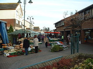 Caldicot, Monmouthshire - The pedestrianised town centre of Caldicot on market day