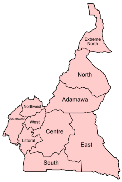 political map of cameroon. map of cameroon provinces.
