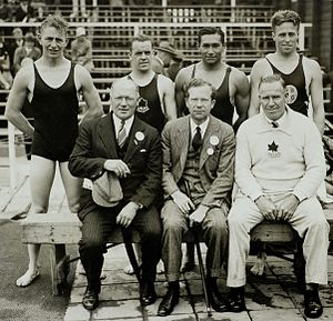 Canada at the 1928 Summer Olympics - Bronze medalists in the 4×200-metre relay. Back row, left to right: Munroe Bourne, James Thompson, Walter Spence, and Garnet Ault