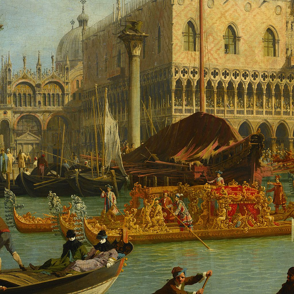 Canaletto - Bucentaur's return to the pier by the Palazzo Ducale - Google Art Project-x1-y1
