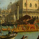 Canaletto - Bucentaur's return to the pier by the Palazzo Ducale - Google Art Project-x1-y1.jpg