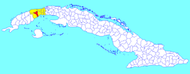 Candelaria municipality (red) within  Artemisa Province (yellow) and Cuba