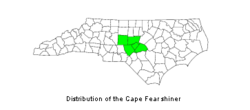Counties in North Carolina in which the Cape Fear Shiner is found; green indicates presence