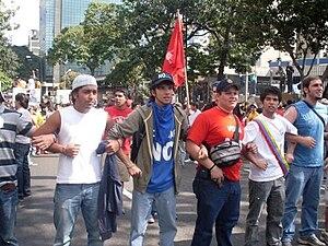 Venezuelan constitutional referendum, 2009 - Students protesting against the referendum. Caracas, Venezuela; 19 January 2009