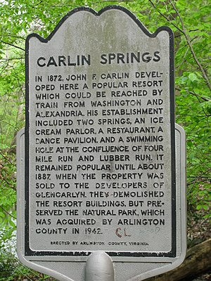 Four Mile Run - Carlin Springs Historical Marker