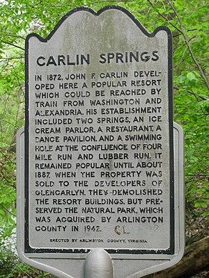 Four Mile Run - Carlin Springs Historical Marker
