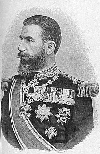 House Order of Hohenzollern - King Carol I of Romania, wearing the collar of the Royal House Order of Hohenzollern around his neck and the pinback Honor Cross 1st Class with Swords of the Princely House Order of Hohenzollern on his lower left breast. He also has a Knight's Cross with Swords of the Royal House Order of Hohenzollern on his medal bar.