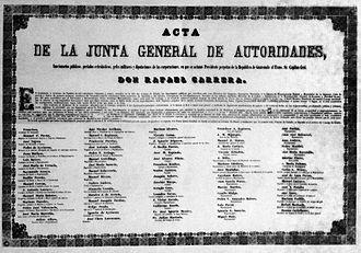 Vicente Cerna y Cerna - The facsimile of the act where Rafael Carrera is declared president for life of Guatemala; Cerna y Cerna was one of the signatories. Museo Nacional de Historia de Guatemala.