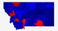 Carte des résultats de l'élection présidentielle américaine de 2016, par comté, au Montana (Rouge- Clinton - Bleu- Trump).png