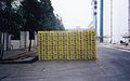 Cases of Beer stacked up outside Zhaoqing Brewery 1999.jpg