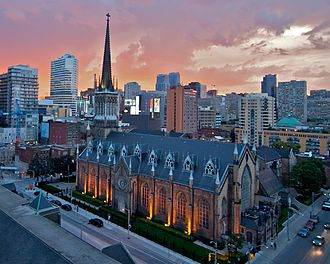 Roman Catholic Archdiocese of Toronto - St. Michael's Cathedral at Sunset. The Cathedral church of the Archdiocese of Toronto was dedicated on September 29, 1845.