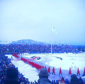 Lake Placid Equestrian Stadium - Image: Ceremony 1980 Winter Games
