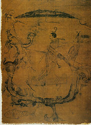 anonymous: silk painting depicting a man riding a dragon