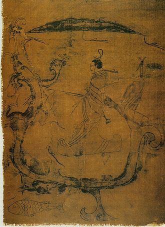 Changsha - Silk painting depicting a man riding a dragon
