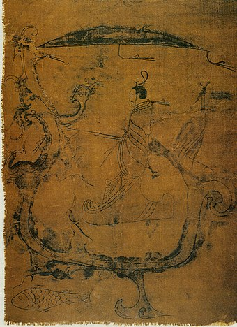 Silk painting depicting a man riding a dragon, painting on silk, dated to 5th-3rd century BC, from Zidanku Tomb no. 1 in Changsha, Hunan Province Changshadragon.jpg