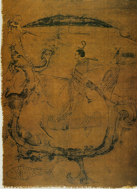 Silk painting depicting a man riding a dragon, painting on silk, dated to 5th-3rd century BC, Warring States period, from Zidanku Tomb no. 1 in Changsha, Hunan Province Changshadragon.jpg