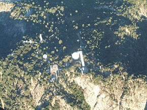 "Looking down on the top of Mount Wilson, including the historic 100"" Hooker telescope (center), the 60"" telescope (center left), and the CHARA array."