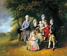 Queen Charlotte mit ihren Kindern und Brüdern, Gemälde von John Zoffany, 1771–72 (Quelle: Wikimedia)