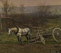 Charrette attelée d'un cheval blanc, fragment du panorama de La Bataille de Champigny.jpg
