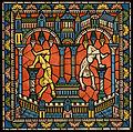 Chartres VITRAIL DE LA VIE DE JÉSUS-CHRIST Motiv 19 Les idoles d'Égypte tombant à l'arrivée de Jésus en ce pays.jpg