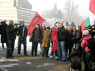 Zhan Videnov - The Plovdiv movement Che Guevara protesting for the keeping of the Monument to the Soviet Army, Sofia in 2011, later Che Guevara movement took part in the February 2013 protests