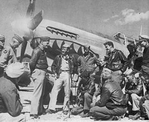 23d Fighter Group - General Claire Chennault with a P-51 Mustang and pilots of the 23d FG