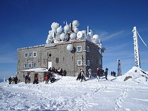 Cherni Vrah - The weather station on Cherni Vrah in winter.