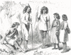 Black and white drawing of five Native American men, women and children in a mix of native and western dress