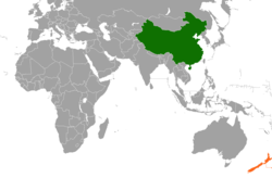 Map indicating locations of China and New Zealand