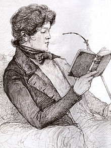Portrait, à l'âge de 19 ans, alors qu'il est étudiant à Göttingen, on le voit lire un livre