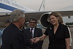 Chuck Hagel greeted by officials at IGI Airport 3.jpg