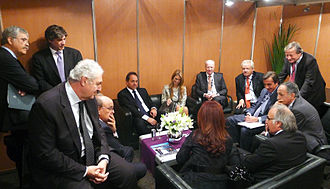 Argentine Industrial Union - President Cristina Fernández de Kirchner confers with UIA leadership and public officials. The UIA remained broadly supportive of policies they see as pro-industry, while advocating for greater flexibility in these.