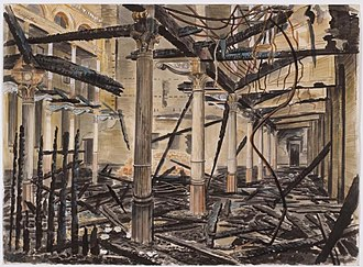 City Temple, London - The interior of the City Temple destroyed in The Blitz – watercolour by Vivian Pitchforth (1941)