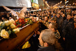 Civil funeral of one of the protesters killed during clashes on February 20. Euromaidan, Kyiv, Ukraine, Events of February 21, 2014..jpg