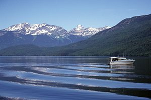 Clearwater River (British Columbia) - Clearwater Lake. Peaks are (L-R) Huntley, Garnet and Tryfan.