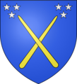 "Coat of arms for the magic school Beauxbatons, as described in the Harry Potter books , ""Two crossed, golden wands, each emitting three stars"".png"