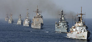 Combined Task Force 150 - Ships assigned to Combined Task Force One Five Zero (CTF-150) assemble in a formation in the Gulf of Oman, 6 May 2004