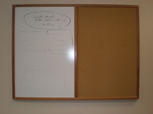 Whiteboard - A combination whiteboard and cork bulletin board