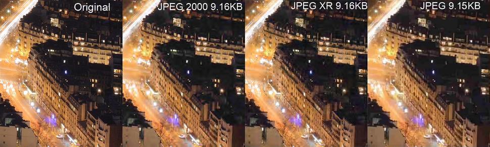 Comparison between JPEG, JPEG 2000 and JPEG XR