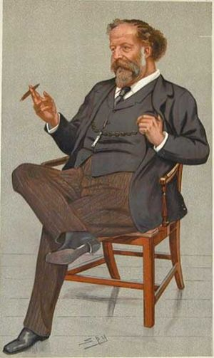 "The Beauty Stone - Carr in an 1893 caricature by Spy in Vanity Fair: ""An Art Critic"""