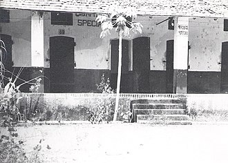 "History of French Guiana - ""Quartier Spécial"" – Condemned men's block, St. Laurent, 1954 (the guillotine stood at the spot where the photographer took the photo)."