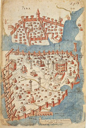 Church of St. Mary of Blachernae (Istanbul) - Map of Constantinople around 1420, after Cristoforo Buondelmonti. The District of Blachernae can be seen on the center left part of the map, surrounded on two sides by the walls of the City, below the Golden Horn.