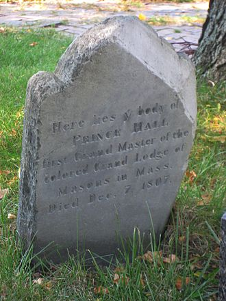 Prince Hall - Image: Copp's Hill Burying Ground, Boston Prince Hall tombstone