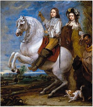 Gonzales Coques - Coques equestrian portrait of a couple