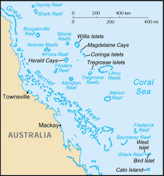 Frederick Reefs - Map of the Coral Sea Islands