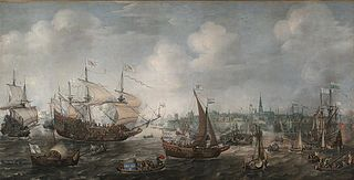 The arrival of Frederik V of the Palts and his consort Elisabeth Stuart on 29 April 1613 in Vlissingen