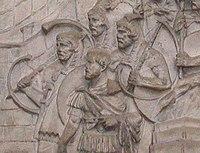 Buccina vagy cornu ábrázolása Traianus oszlopán